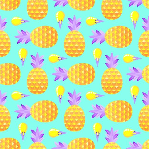 パイナップルとアイスクリームのパターン Premiumベクター