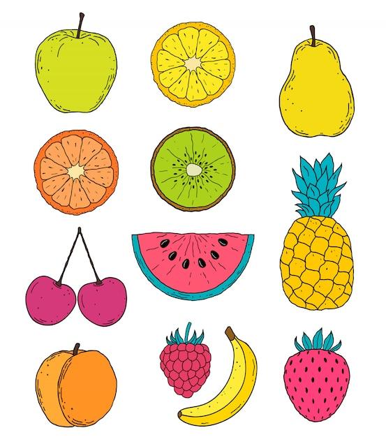 Ручной обращается фрукты рисунок Premium векторы