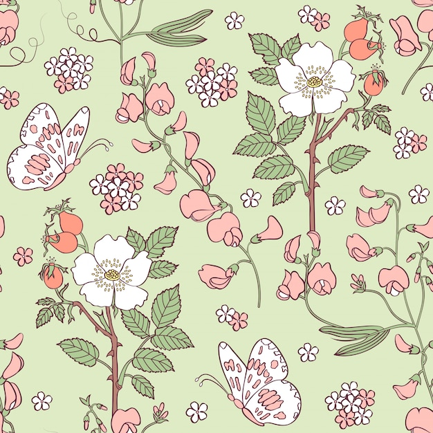 夏の花とのシームレスなパターン Premiumベクター