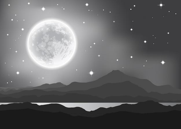 山と湖の上の満月。夜の風景ベクトルイラスト Premiumベクター