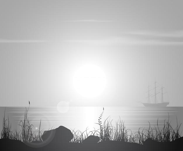 Пейзаж с закатом над морем Premium векторы