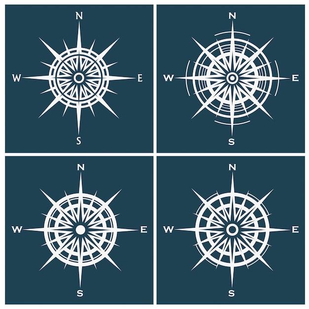Набор роз компас или роза ветров Premium векторы