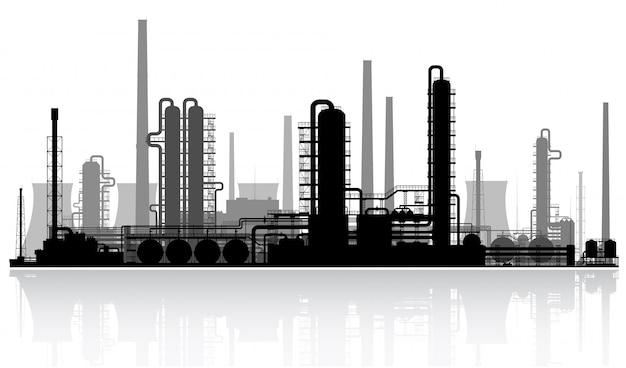 石油精製所のシルエット Premiumベクター