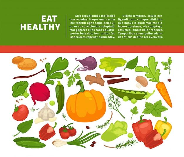 食事療法の菜食主義者の食べることまたは菜食主義者の食事療法のための有機野菜食品ポスター背景テンプレート。 Premiumベクター