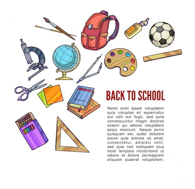 Вернуться к школьные принадлежности и учебное оборудование или офисные принадлежности для дизайна плаката. Premium векторы