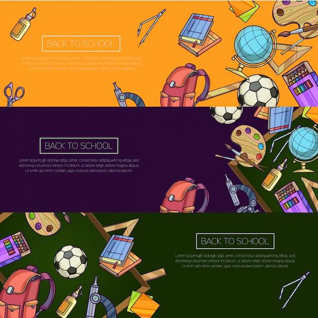 Снова в школу набор баннеров. мультяшный векторный шаблон с школьными предметами Premium векторы