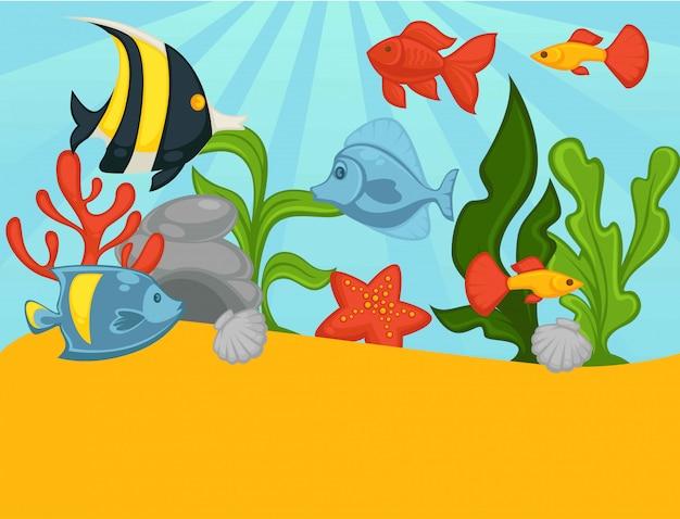 熱帯魚や植物の水族館ベクトルイラスト Premiumベクター