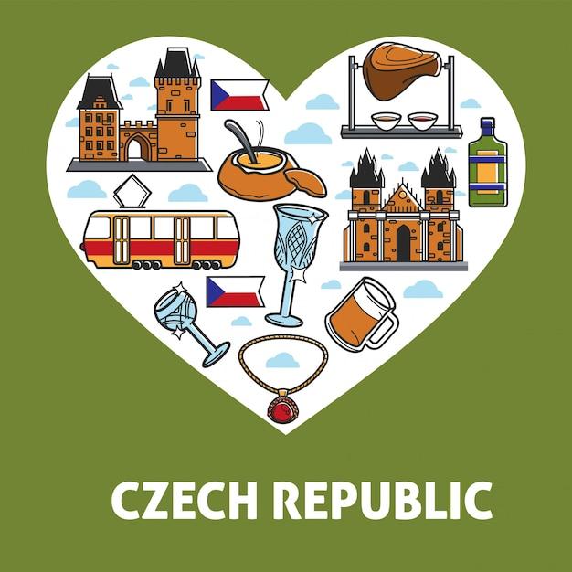 Чешская республика плакат с достопримечательностями для значков Premium векторы