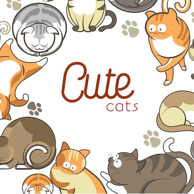 Симпатичные кошки и котята домашние животные играют или позируют вектор плоских животных Premium векторы