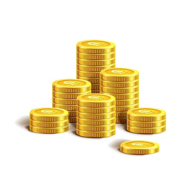 黄金のコインのベクターイラストです。白で隔離されます。 Premiumベクター