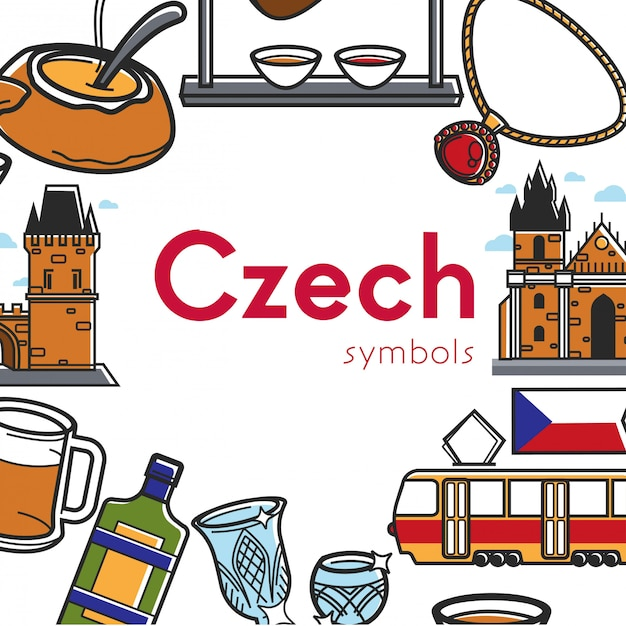 チェコのシンボルプロモーションポスター建築と国の料理 Premiumベクター