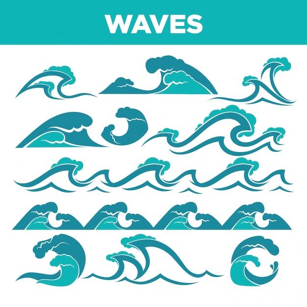 嵐や津波の間の海と海の波 Premiumベクター