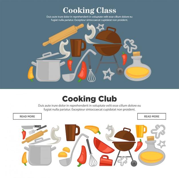 Кулинарная школа вектор кухонная посуда веб-баннеры Premium векторы