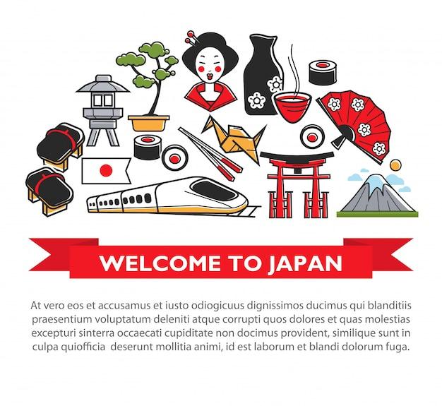 Добро пожаловать в японию - туристический плакат японской культуры, известных достопримечательностей и значков достопримечательностей. Premium векторы