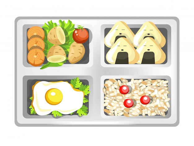 Ланч-бокс из японских блюд бенто, суши-роллы, яйца и рис с салатом. Premium векторы