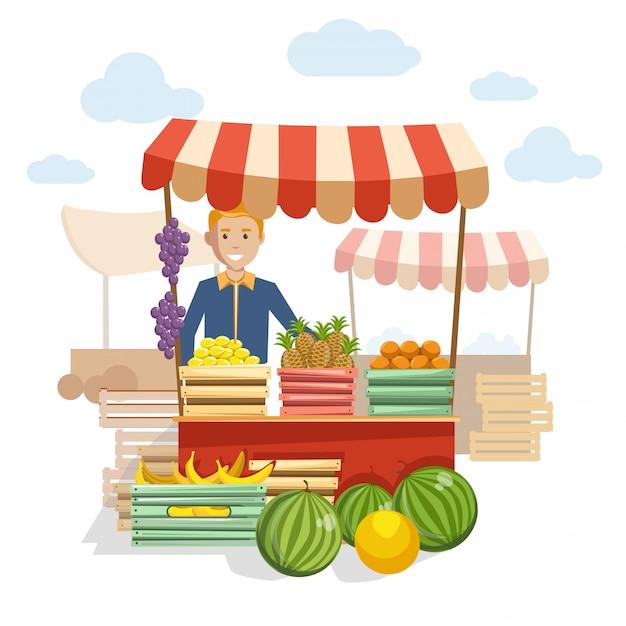 Деревянная стойка с вкусными фруктами и ягодами на рынке Premium векторы