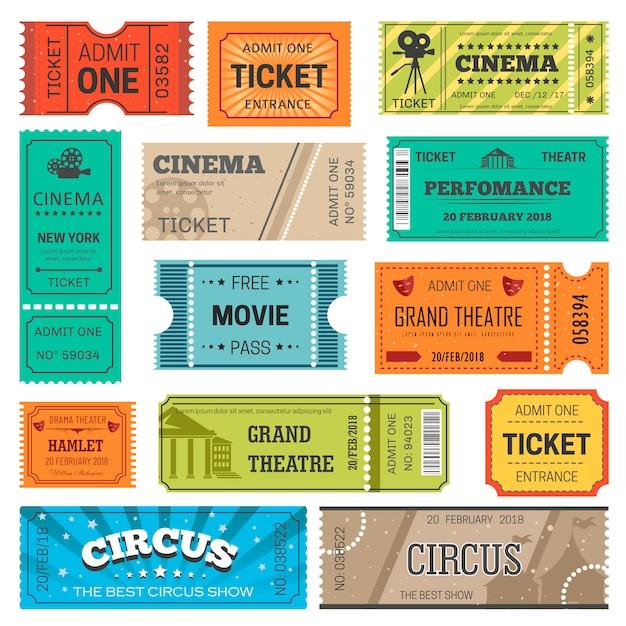 チケットは、映画、劇場、映画、サーカス、コンサートショーのデザインテンプレートをベクトルします。 Premiumベクター