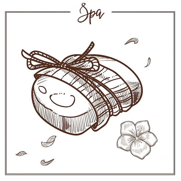ロープに包まれた花の香りのスパ石鹸 Premiumベクター