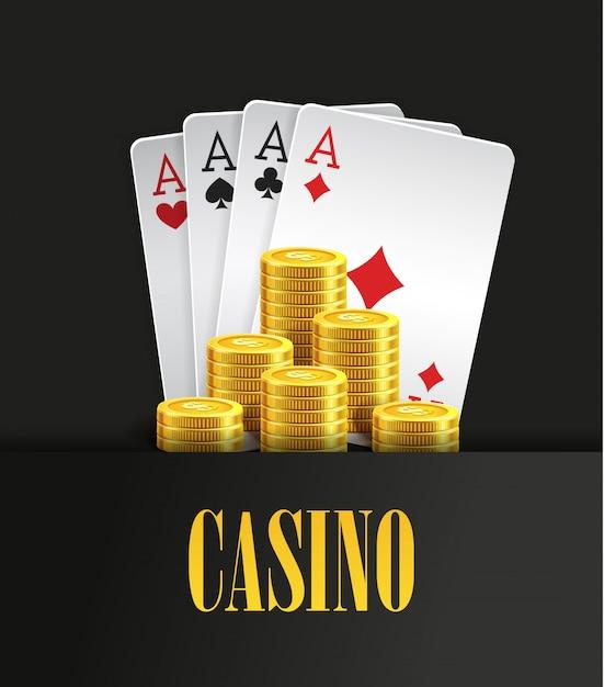 カジノのポスターやバナーの背景色やチラシテンプレート。トランプとフライングゴールデンコインのポーカー招待状。ゲームデザインカジノゲームをする。ベクトルイラストフォーエースコンビネーション。 Premiumベクター