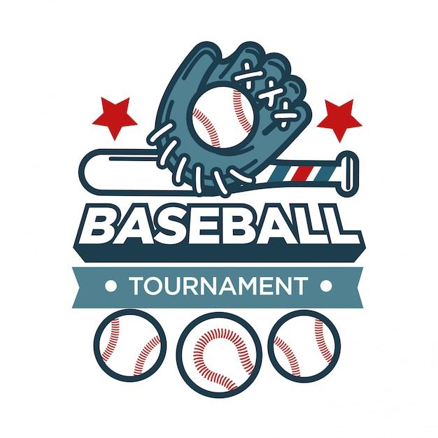 Рекламная эмблема бейсбольного турнира со спортивной перчаткой и мячами Premium векторы