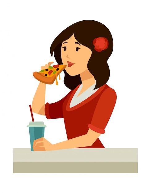 髪にバラを持つイタリア人女性がピザを食べる Premiumベクター