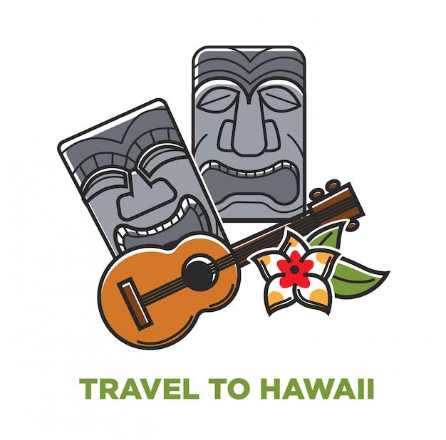 ハワイ旅行のポスター Premiumベクター