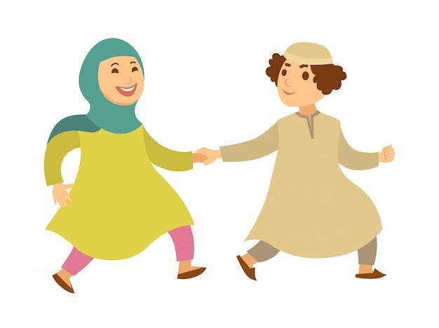 サウジアラビアのイスラム教徒のカップルや子供たちの幸せな歩く漫画のキャラクター Premiumベクター