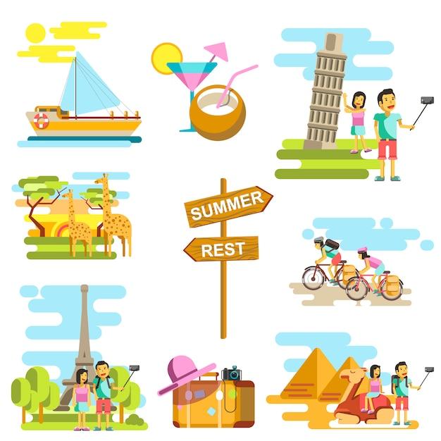 Сцена летних каникул и путешествий Premium векторы