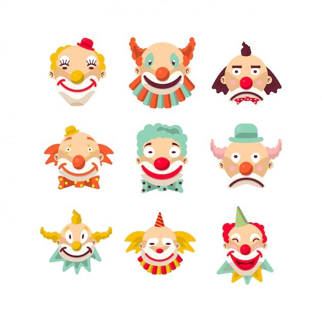 Клоун сталкивается с изолированным набором символов. Premium векторы