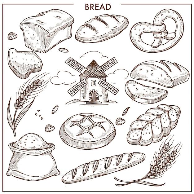 新鮮な香りの小麦とライ麦パン、ピグテールの形のパン、小麦粉の袋 Premiumベクター