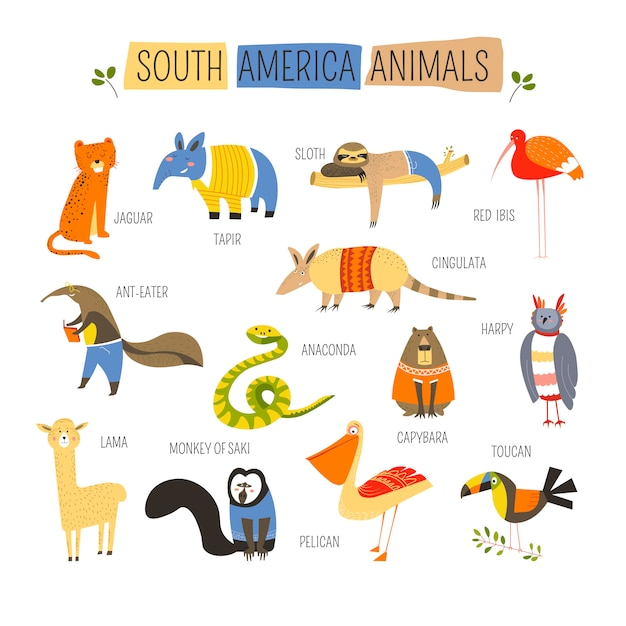 南アメリカの動物ベクトル漫画デザイン Premiumベクター