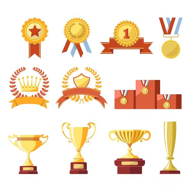 Награды золотого кубка чемпиона или кубка Premium векторы