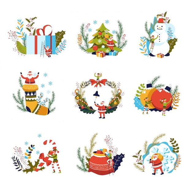 Счастливого рождества, подарки и эльф с дедом морозом Premium векторы