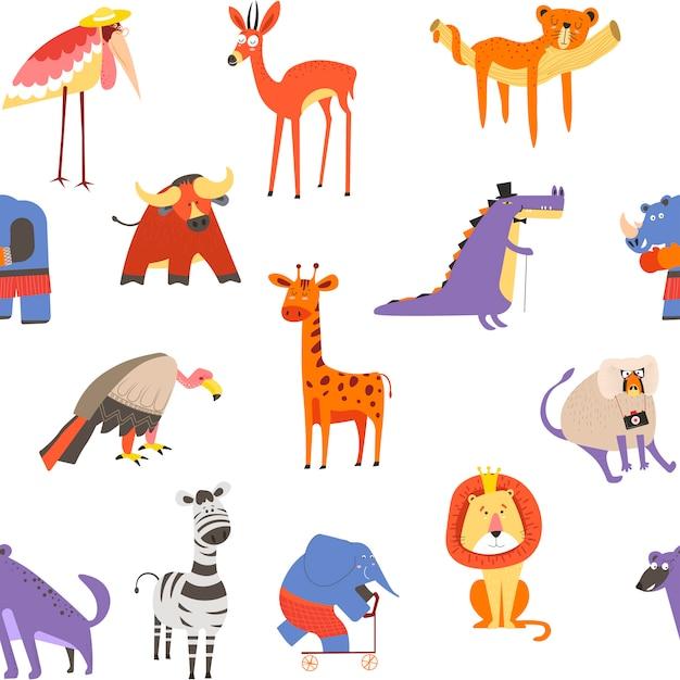 動物のシームレスなパターン、ライオンとシマウマ、マカクと象 Premiumベクター