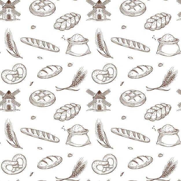 ベーカリー製品、オールドミル、シームレスパターン内の新鮮なスパイク Premiumベクター