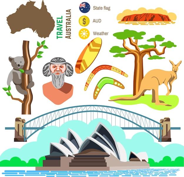 オーストラリア文化のシンボルのセットです。 Premiumベクター