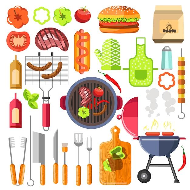 バーベキューのデザイン要素は夏の食べ物をグリルします。 Premiumベクター