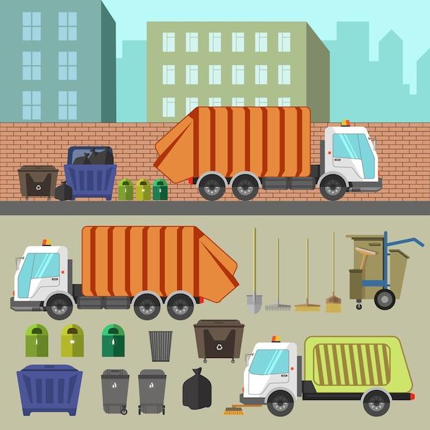 Переработка и вывоз мусора. Premium векторы