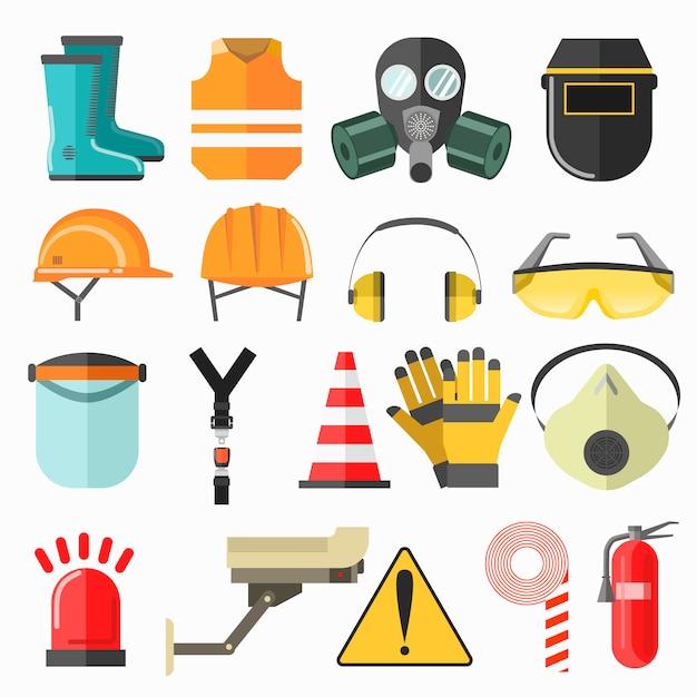 安全作業のアイコン。職場での安全性ベクトルアイコンコレクション。 Premiumベクター
