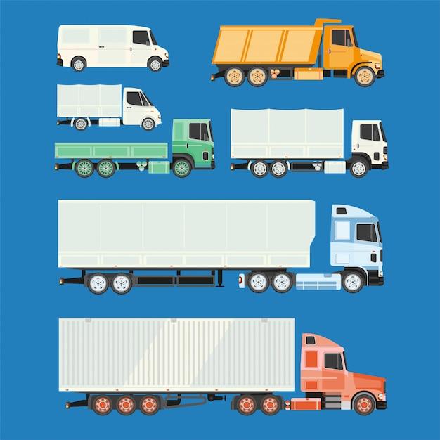 トラックやトレーラー、白い背景の上。 Premiumベクター