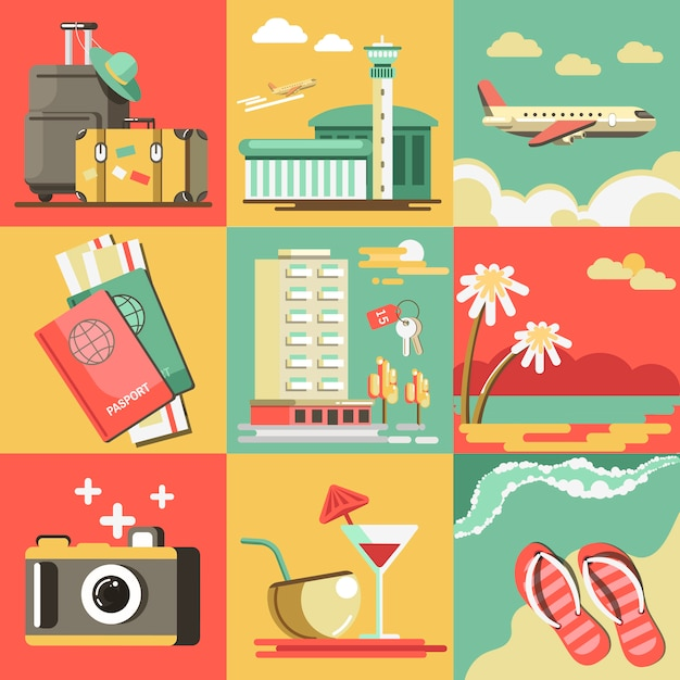 Летние путешествия или отпуск вектор океан пляж. Premium векторы