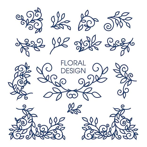 ロゴのライン花柄デザイン要素の大きなベクトルを設定 Premiumベクター