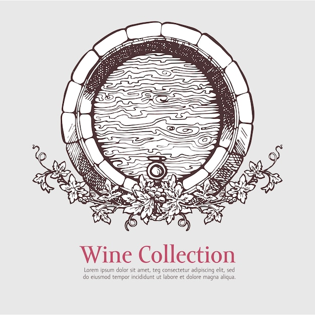 ブドウの花輪とワイン樽。 Premiumベクター
