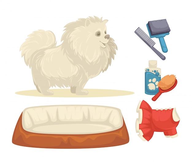 Собаки набор аксессуаров для собак. Premium векторы