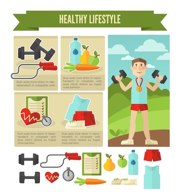 健康的な生活様式。ベクトルウェルネスコンセプト Premiumベクター
