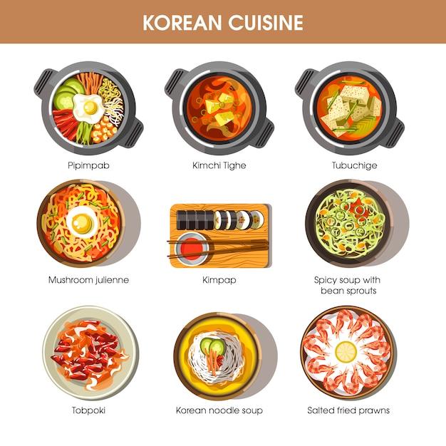 Корейская кухня плоский векторная коллекция блюд на белом Premium векторы
