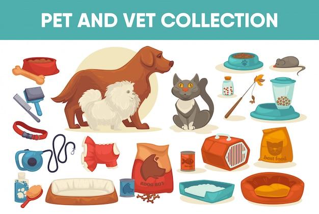 Набор для животных и корм для собак Premium векторы