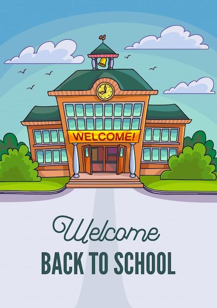 Иллюстрация школьного здания. добро пожаловать в школу. Premium векторы
