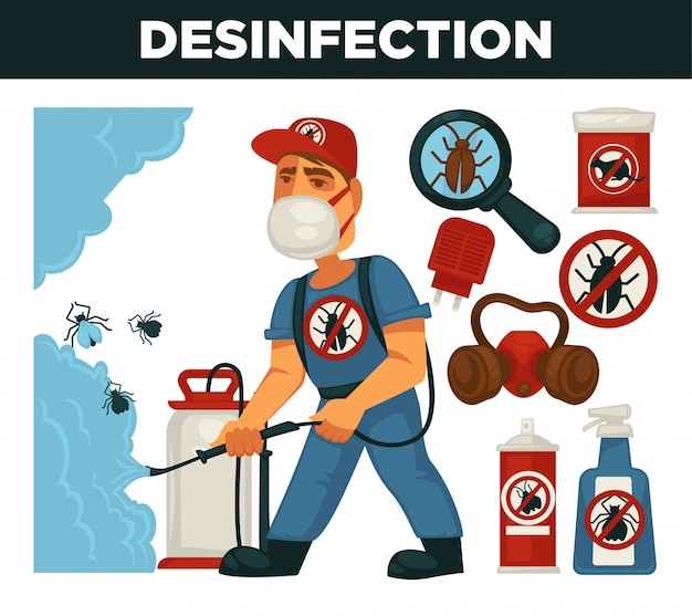 Уничтожение или борьба с вредителями службы и санитарно бытовой дезинфекции вектор плоский дизайн плаката. Premium векторы