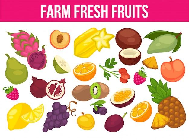 Органические фрукты и ягоды урожай плакат из свежих яблок и манго или ананаса, натуральной груши, винограда и тропического банана. Premium векторы